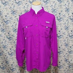 Columbia purple PFG Bahama button up shirt top